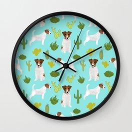 Jack Russell Terrier cactus desert custom pet portrait dog art by pet friendly Wall Clock
