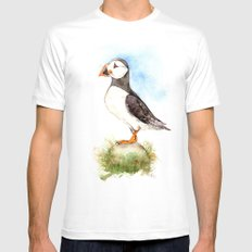 Puffin on a Rock White MEDIUM Mens Fitted Tee