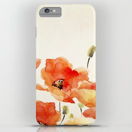 Poppy Flower Meadow- Floral Summer lllustration iPhone Case