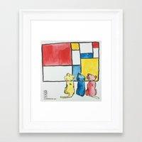 mondrian Framed Art Prints featuring Mondrian by Unbearable Art