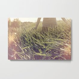 Playing in wheat Fields Metal Print