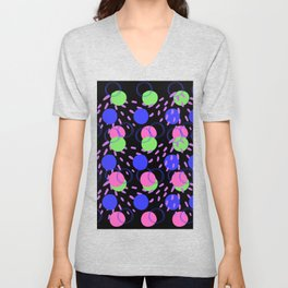 Colorful Circular Abstract Pattern with Bright Colors Unisex V-Neck