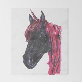 Dark unicorn Throw Blanket