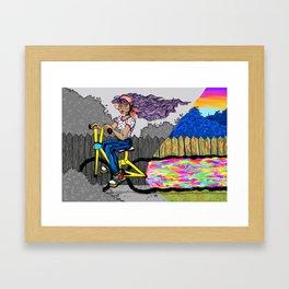 Bike riding the sun Framed Art Print