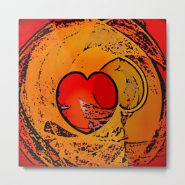 Hearts Over the Moon Abstract Metal Print