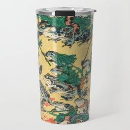 Frog Battle Japanese Print by Kawanabe Kyosai, 1864 Travel Mug