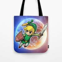 triforce Tote Bags featuring Triforce Hero by Febrian89