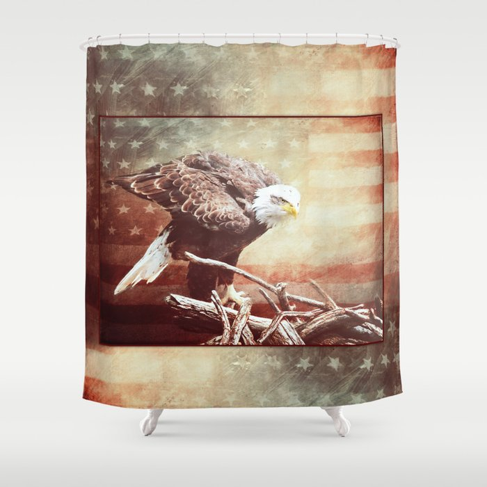 Distressed American Flag Coffee Table: Faded Distressed Shower Curtain