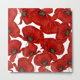 Poppy flower pattern Metal Print