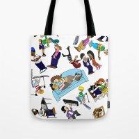 cartoons Tote Bags featuring 2013 Cartoons 1 by Reid