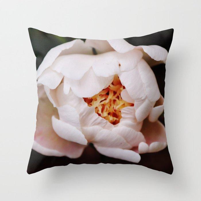 Light pink peony on black Throw Pillow