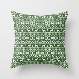 Boston Terrier fair isle dog pattern silhouette christmas sweater green and white Throw Pillow