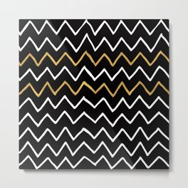 Writing Exercise - Simple Zig Zag Pattern- White Gold on Black - Mix & Match Metal Print