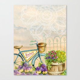 Old bike and flowers watercolor painting Canvas Print