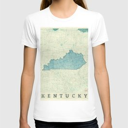 Kentucky State Map Blue Vintage T-shirt
