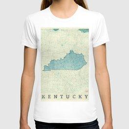 Kentucky State Map Blue Vintage T-shirt