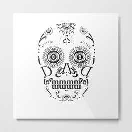 Typographic Sugar Skull Metal Print