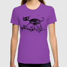 black cat X-LARGE Ultraviolet Womens Fitted Tee