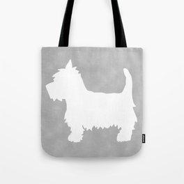 Westie Silhouette On Grey Tote Bag