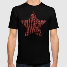 Red Wavy Chevrons MEDIUM Black Mens Fitted Tee