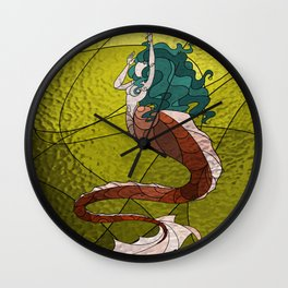 Primeval Mermaid (yellow) Wall Clock