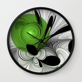 Abstract Black and White with Green Wall Clock
