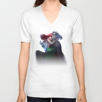 ariel V-neck T-shirts featuring ariel by Katie Payne