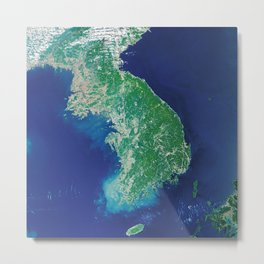 South Korea - High resolution satellite view of Earth from Space - Color Metal Print