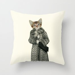 Kitten Dressed as Cat Throw Pillow