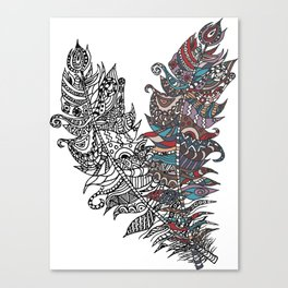 Rustic ethnic decorative feathers. Hand drawing doodle illustration. Canvas Print