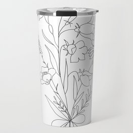 Small Wildflowers Minimalist Line Art Travel Mug