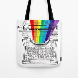 underwood typewriter with a sliver of rainbow Tote Bag