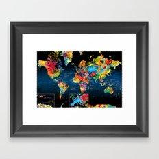 World Map Black - 2 Framed Art Print