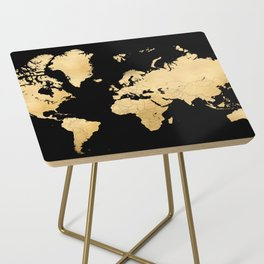 Sleek black and gold world map Side Table