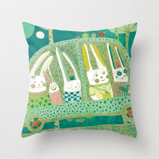 Rabbit journey Throw Pillow