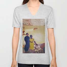 African-Americans listening to the words of Frederick Douglass portrait by Cletis Alexander Unisex V-Neck