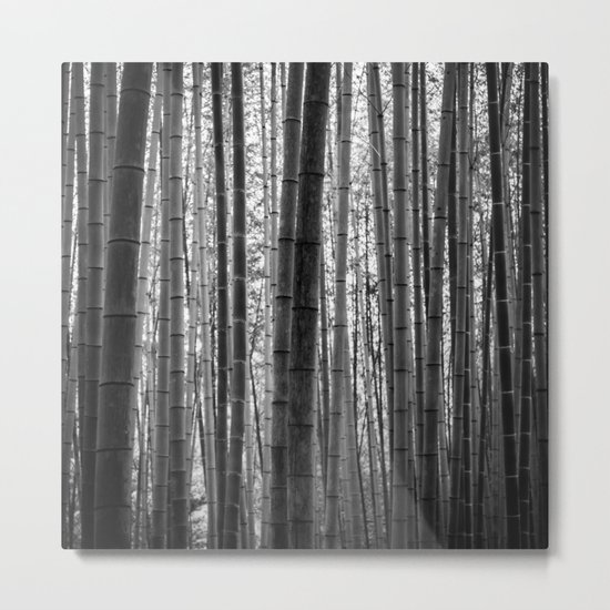 Bamboo Monochrome Metal Print