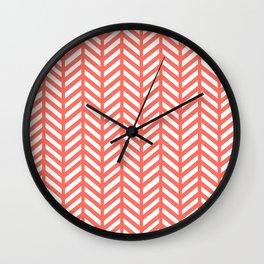 Herringbone - Living Coral Wall Clock