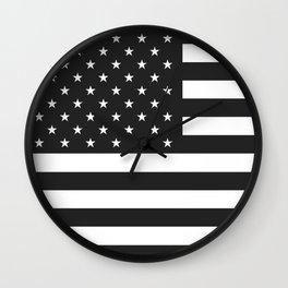 American Flag Stars and Stripes Black White Wall Clock