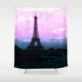 Paris Eiffel Tower : Lavender Teal Shower Curtain