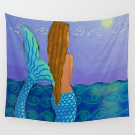 Mermaid Watching The Sun Abstract Digital Painting Wall Tapestry