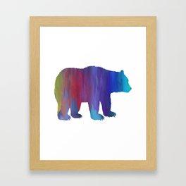 Rainbow Watercolor Dripping Bear Framed Art Print