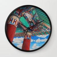 korean Wall Clocks featuring Korean Friendship Bell by artbyCM