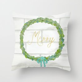 Merry gold and blue boxwood Christmas wreath Throw Pillow