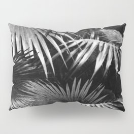 Tropical Botanic Jungle Garden Palm Leaf Black White Pillow Sham