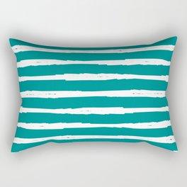 Blue Turquoise Dark Cyan Stripe Rectangular Pillow