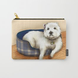 Dexter the Westie in His Doggie Bed Carry-All Pouch
