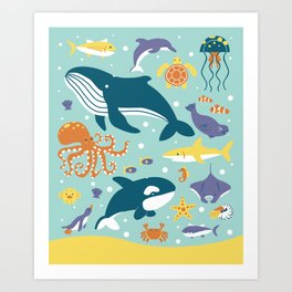 Sea Animals Art Print