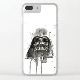 Vader Helmet Watercolor Clear iPhone Case