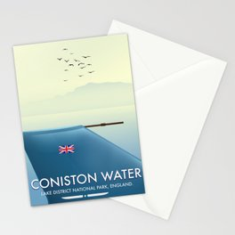 Coniston Water, lake district, England travel poster Stationery Cards